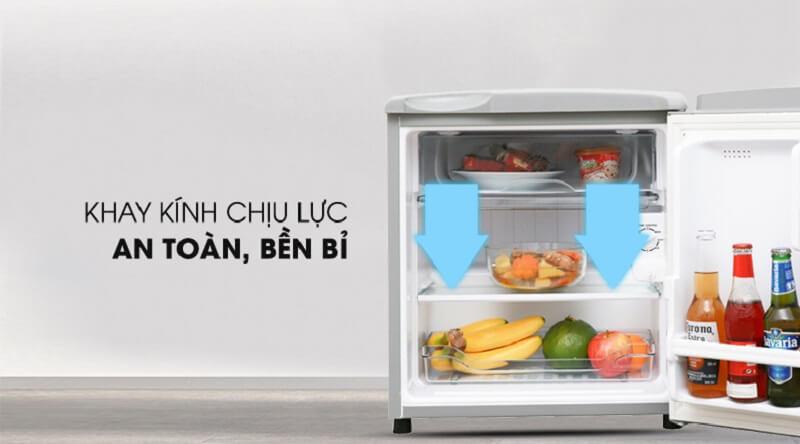 Khay kính chịu lực - Tủ lạnh Aqua 50 lít AQR-55ER (SS) Xám Nhạt