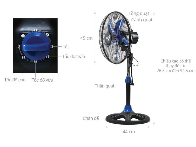Thông số kỹ thuật Quạt lửng Asia A16009-DV1 Xanh đen