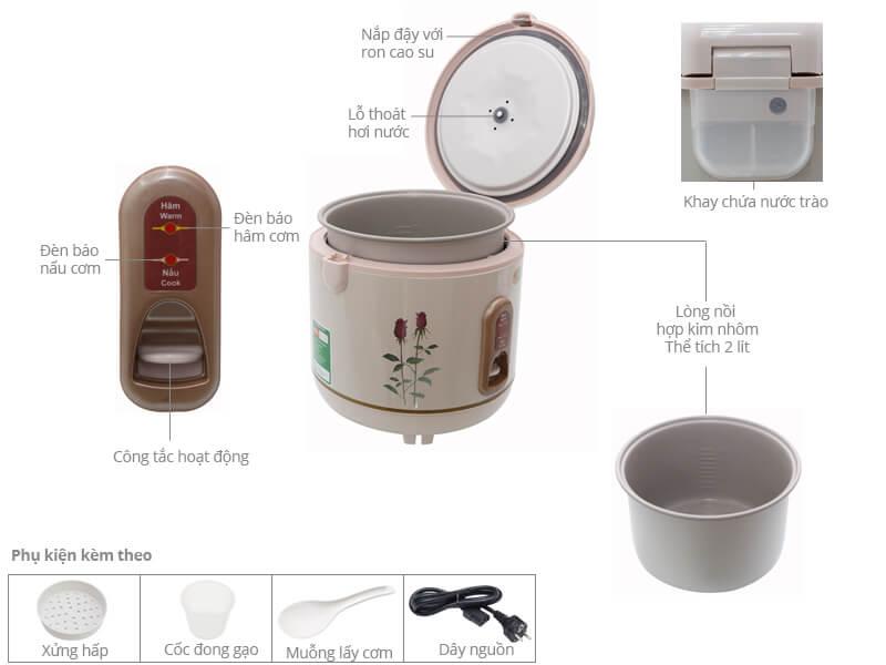 Thông số kỹ thuật Nồi cơm điện Happycook 2 lít HC-200