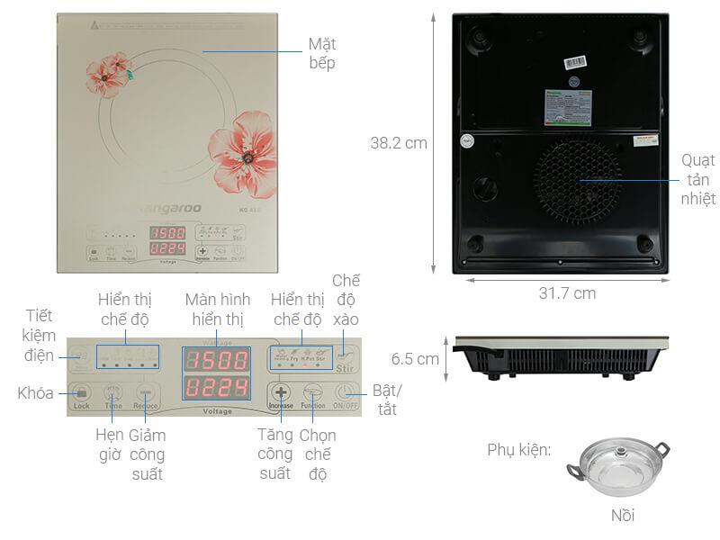 Thông số kỹ thuật Bếp từ Kangaroo KG418I