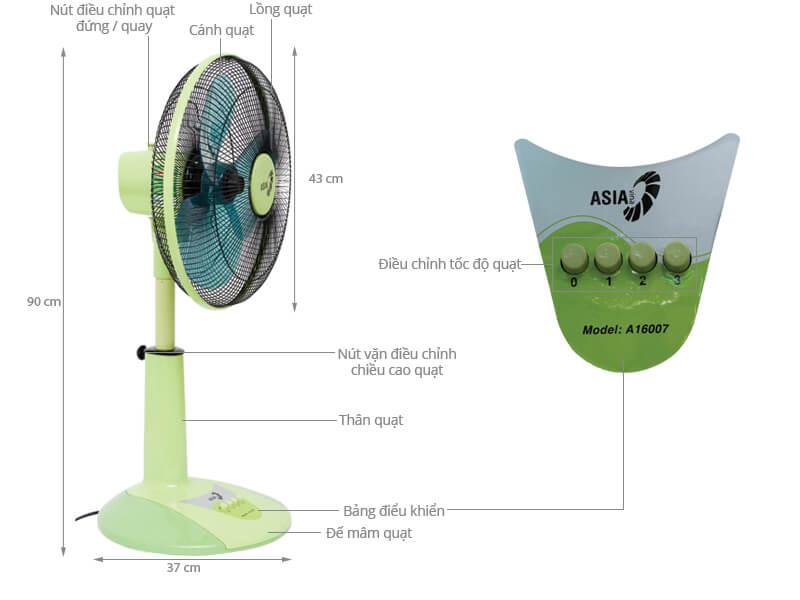 Thông số kỹ thuật Quạt lửng Asia A16007