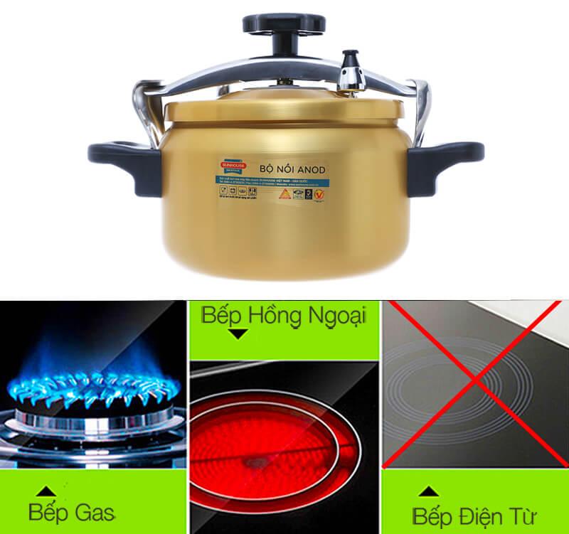 Sử dụng tốt trên cả bếp gas và bếp hồng ngoại, không dùng được trên bếp từ