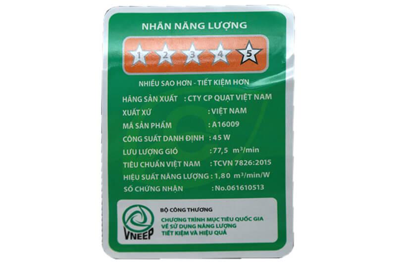 Quạt AsiaA16009-DV1 đạt chất lượng tiêu chuẩn sao về tiết kiệm năng lượng