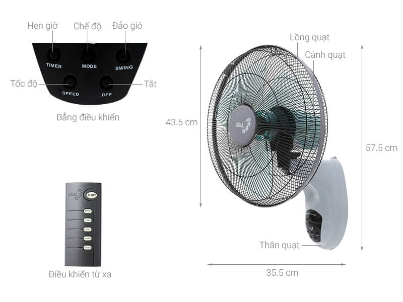 Thông số kỹ thuật Quạt treo Asia L16006-XV0