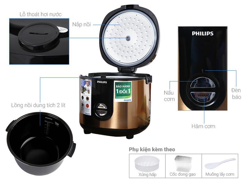 Thông số kỹ thuật Nồi cơm điện Philips HD3128/68 Vàng - 2 lít