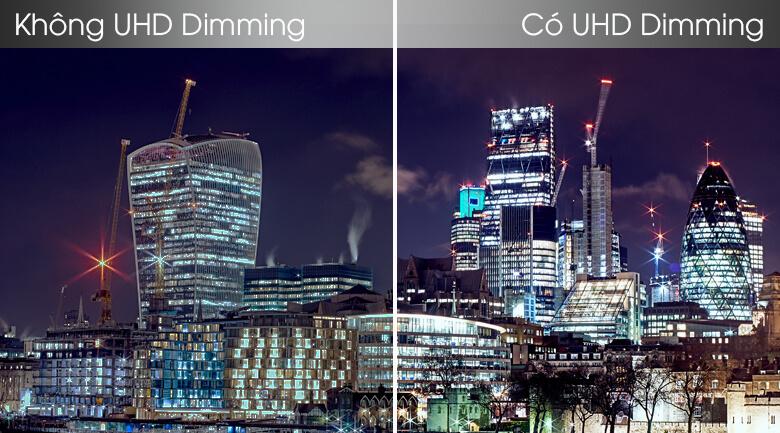 So sánh công nghệ UHD Dimming và không UHD Dimming - Smart Tivi Samsung 4K 55 inch UA55TU8100