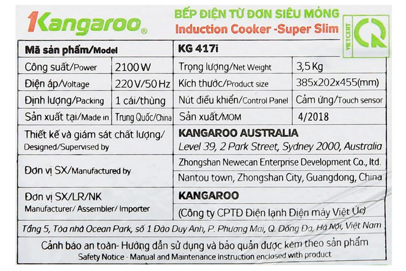 Công suất cao, nấu ăn nhanh - Bếp điện từ Kangaroo KG417i