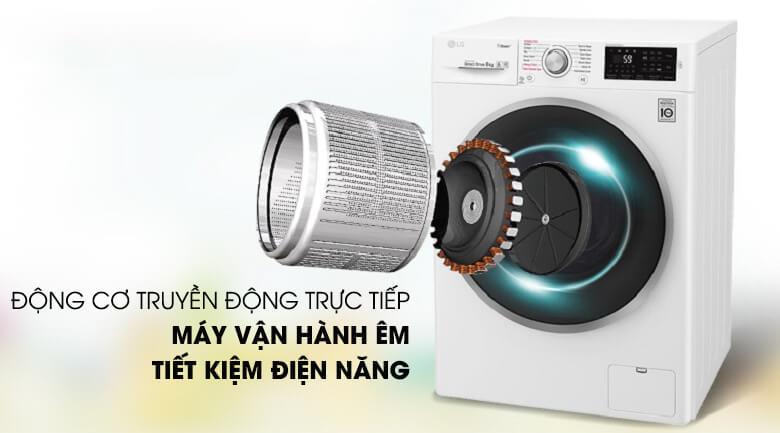 Máy giặt LG Inverter 9 kg FC1409S4W-Vận hành êm ái với động cơ truyền động trực tiếp