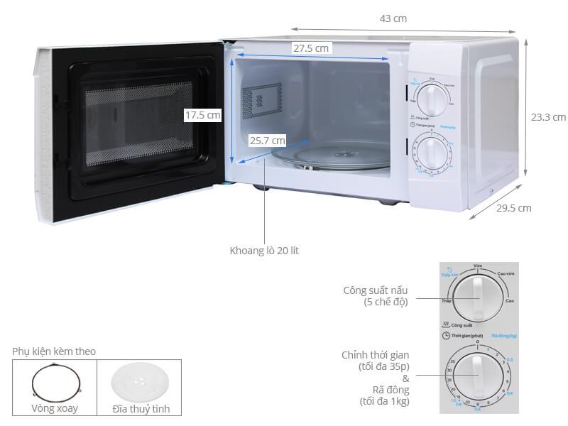 Thông số kỹ thuật Lò vi sóng Midea MMO-20KE1 20 lít