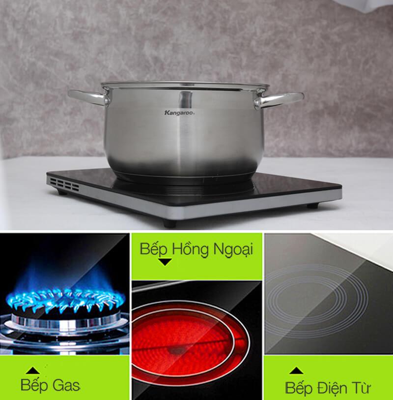 Nồi sử dụng được trên bếp từ, bếp hồng ngoại và bếp gas.