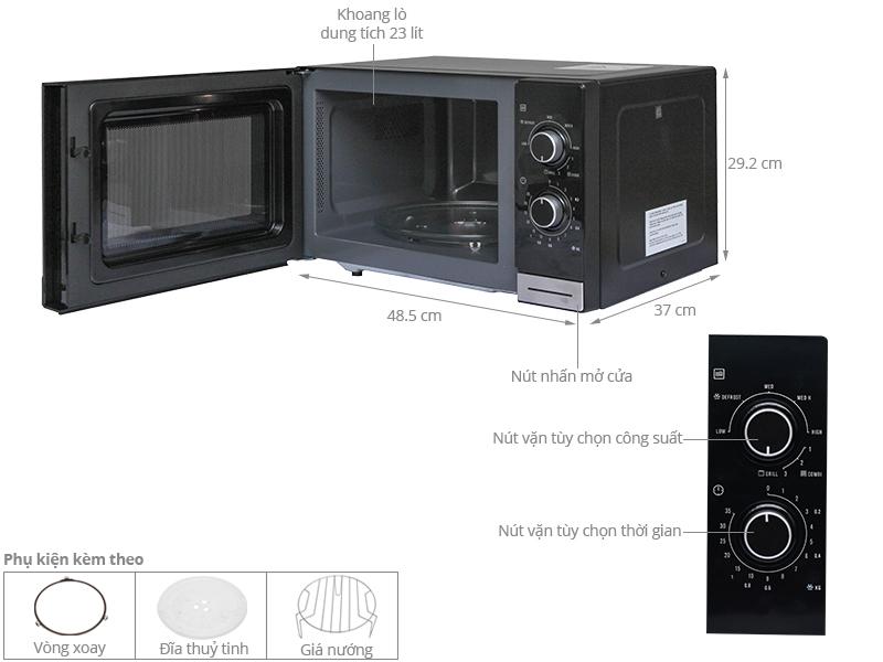 Thông số kỹ thuật Lò vi sóng Electrolux EMM2318X 23 lít