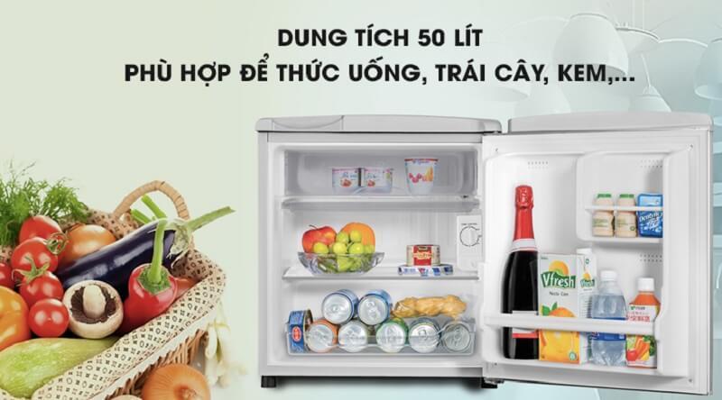 Tủ có dung tích 50 lít - Tủ lạnh Aqua 50 lít AQR-55ER (SS) Xám Nhạt