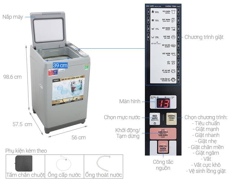 Thông số kỹ thuật Máy giặt Aqua 8 Kg AQW-S80CT H2
