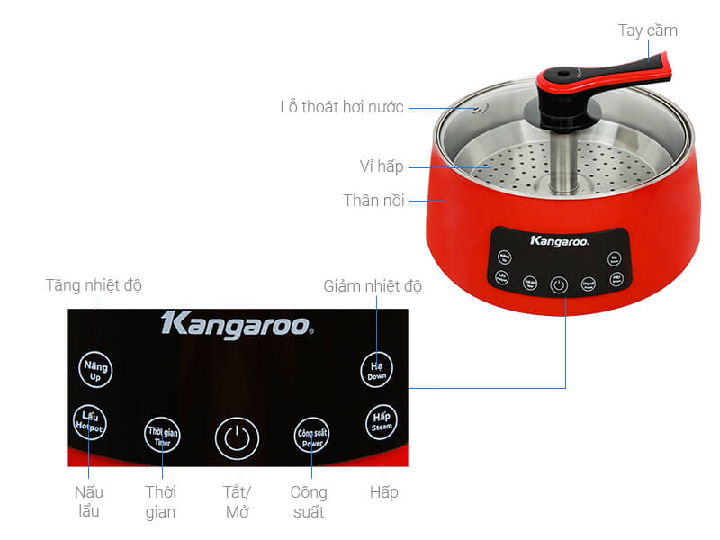 Thông số kỹ thuật Nồi lẩu thang máy Kangaroo KG278 5 lít