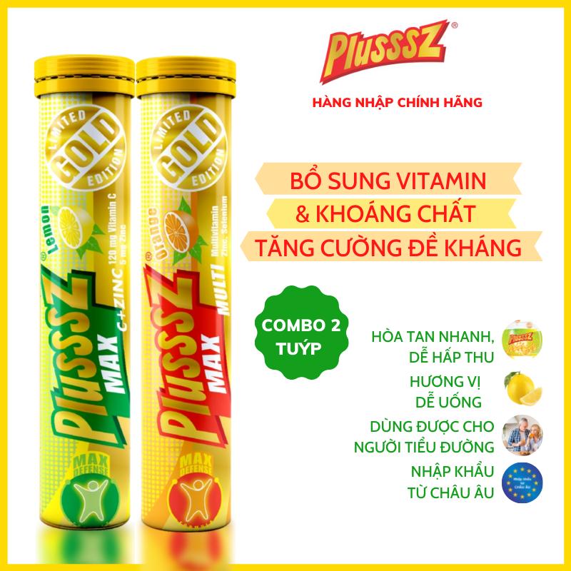 {COMBO 2 TUÝP} Viên sủi Plusssz Max Multivitamin vị Cam + viên sủi Plusssz Max vitamin C & Zinc (kẽm) vị Chanh không đường