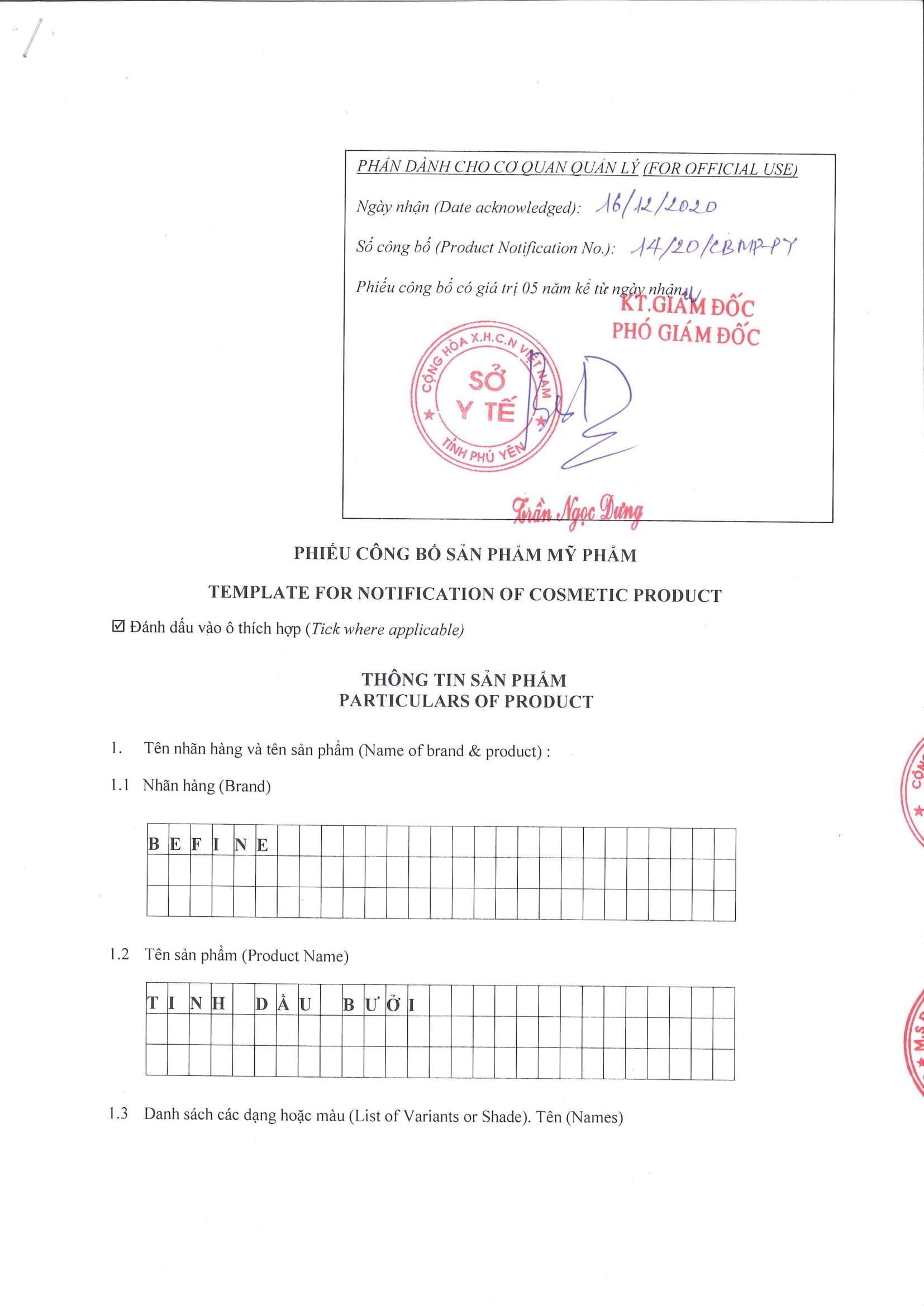 Bản công bố tiêu chuẩn mỹ phẩm của tinh dầu bưởi Befine