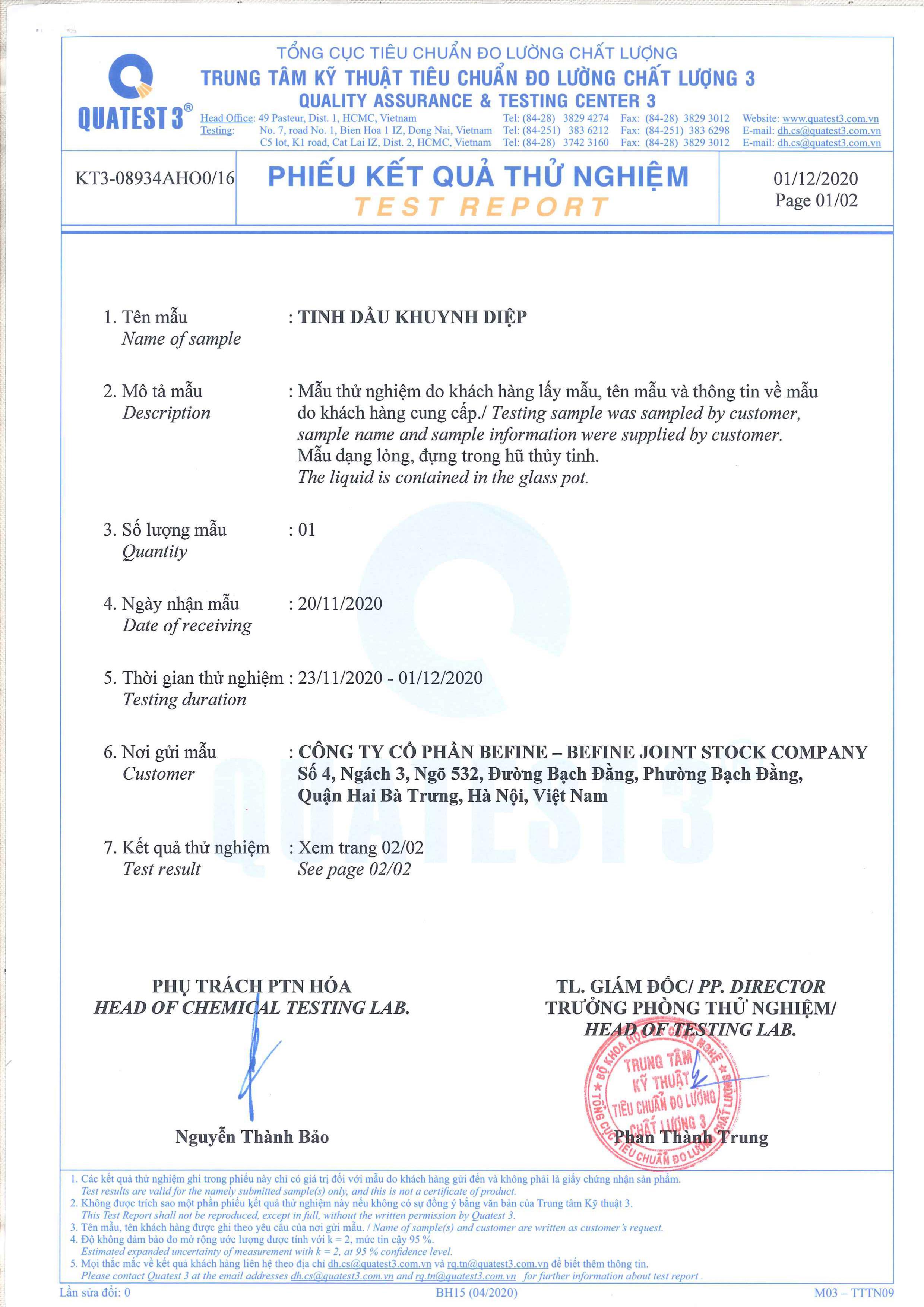 Bản kiểm nghiệm GCMS tinh dầu khuynh diệp Befine 1
