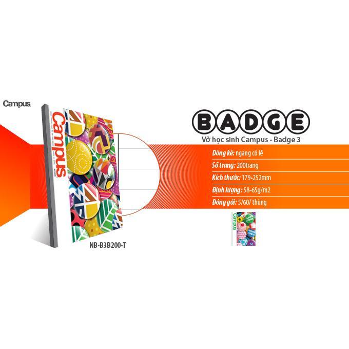 Vở kẻ ngang Campus Badge 3-200 trang