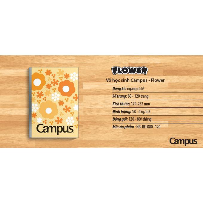 Vở kẻ ngang Campus Flower 80tr, 120tr