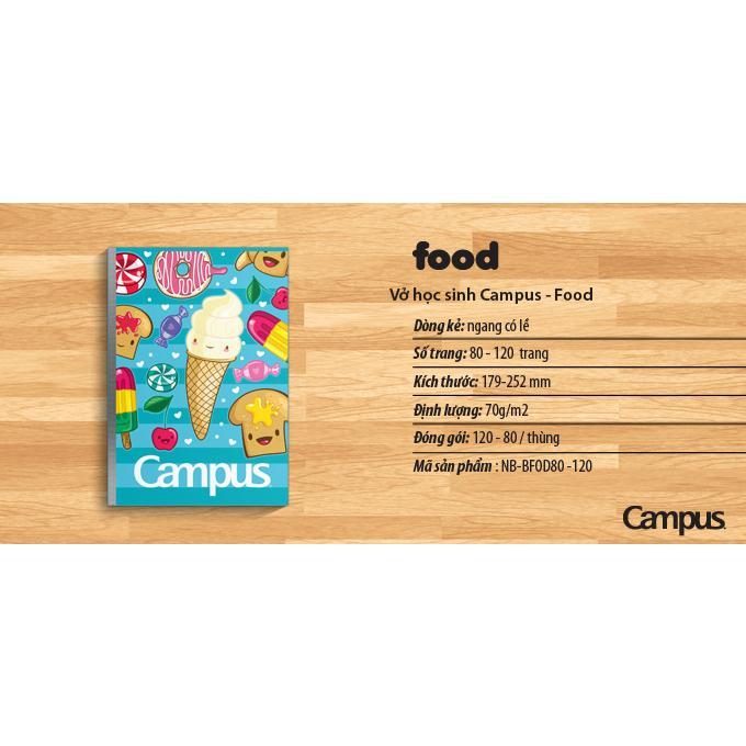 Vở kẻ ngang Campus Food 80tr, 120tr