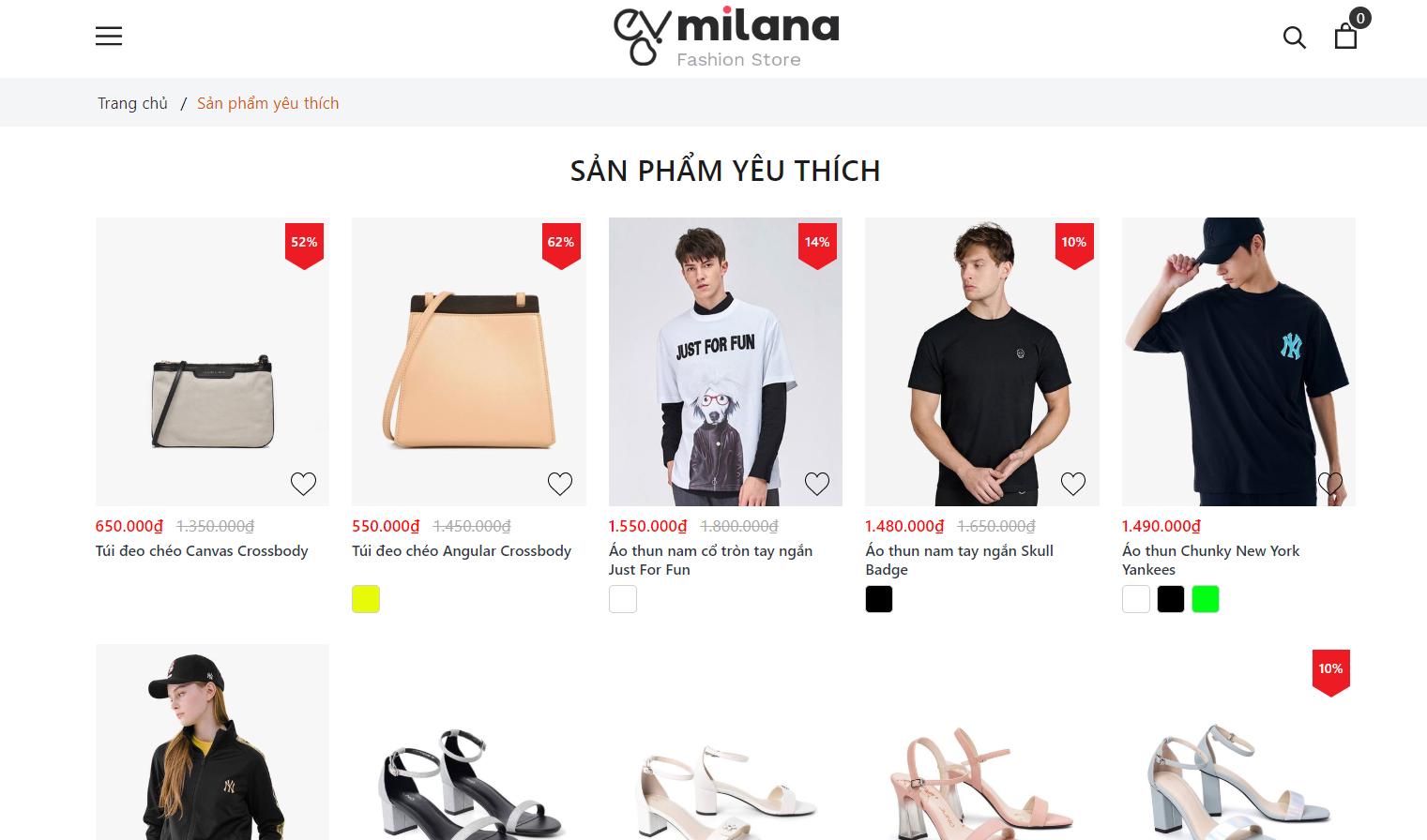 Evo Milana Sản phẩm yêu thích