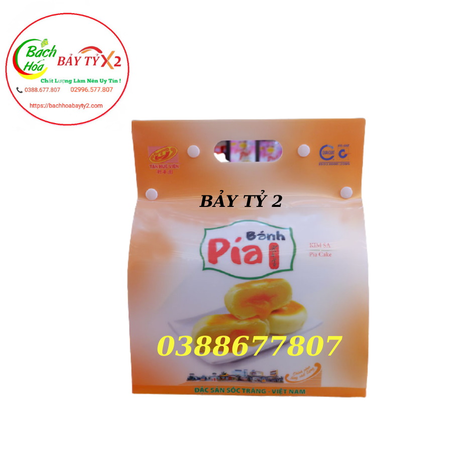 Bánh Pía Kim Sa Đậu Xanh Sầu Riêng Túi 3D Tân Huê Viên 630gr (35gr x 18 Cái)