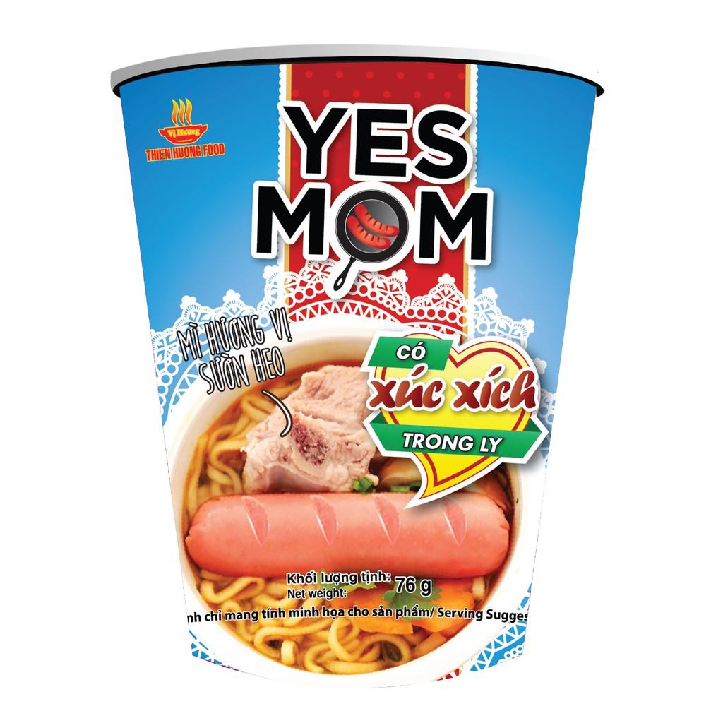 Mì Ly Yes Mom Vị Sườn Heo Xúc Xích 76gr