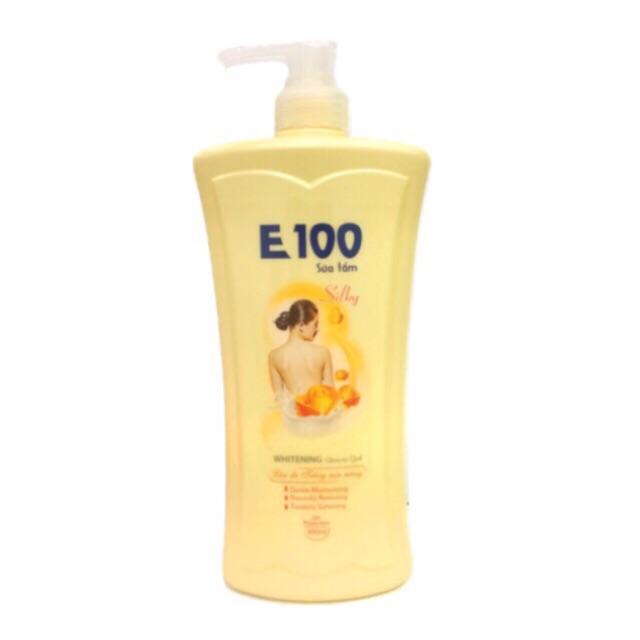 Sữa Tắm E100 SILKY Vàng Chai 1.2 Lít