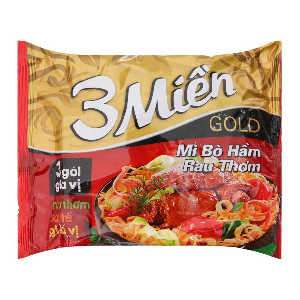 Mì 3 Miền Gold Bò Hầm Rau Thơm Gói 75gr