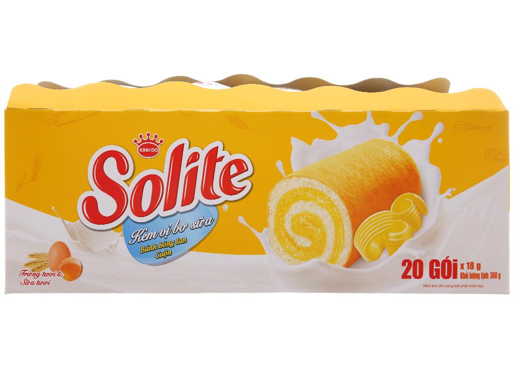 Bánh Bông Lan Solite Cuộn Vị Bơ Sữa 20 Gói/Hộp