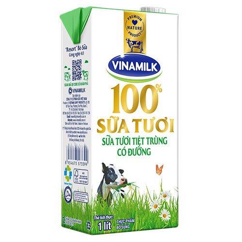 Sữa Vinamilk 100% Có Đường Hộp 1 Lít