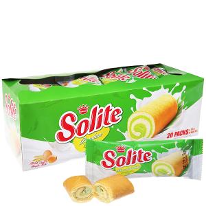 Bánh Bông Lan Solite Cuộn Vị Lá Dứa 20 Gói/Hộp