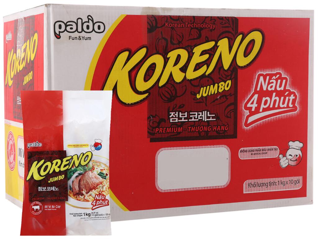 Thùng 10 túi mì Koreno Jumbo (Mỗi túi 1Kg) vị