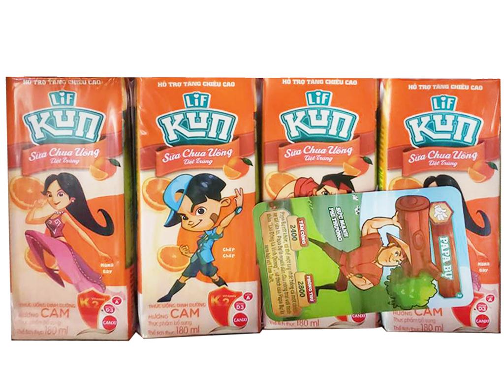 Lốc 4 Hộp x 180ml Sữa Kun Hương Cam