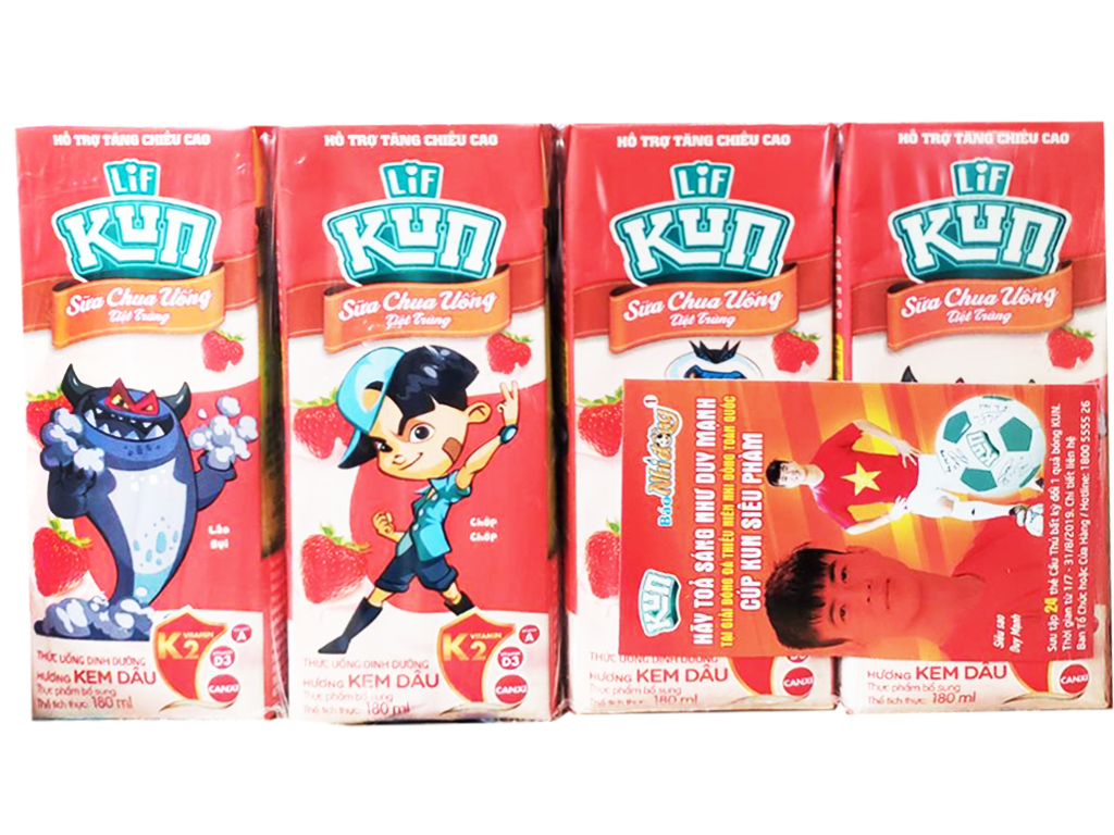 Lốc 4 Hộp x 180ml Sữa Kun Hương Kem Dâu