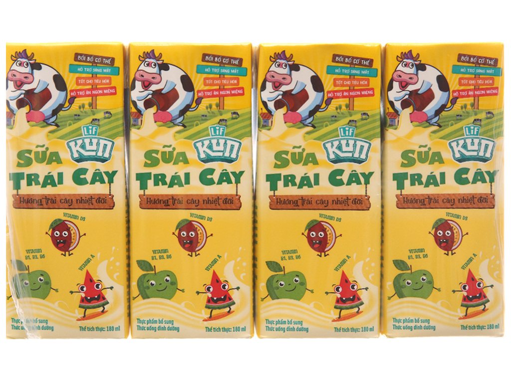 Lốc 4 Hộp x 180ml Sữa Kun Hương Trái Cây