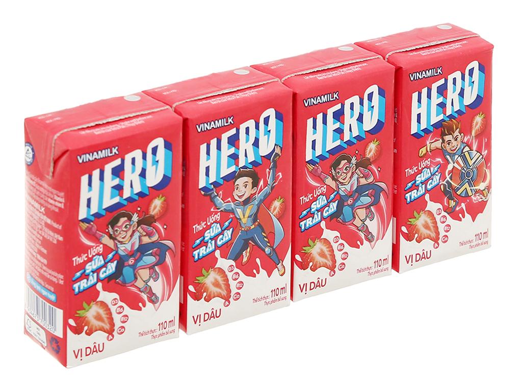 Lốc 04 Hộp x 110ml Sữa Hero Vị Dâu