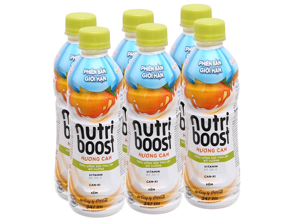 Lốc 6 Chai Nước Uống Sữa Trái Cây Nutri Boost Hương Cam Chai 297ml