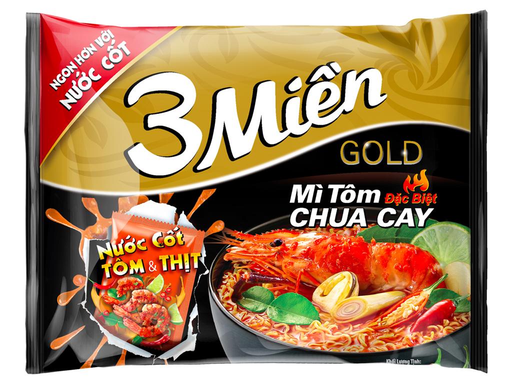 Mì 3 Miền Gold Tôm Chua Cay 75gr