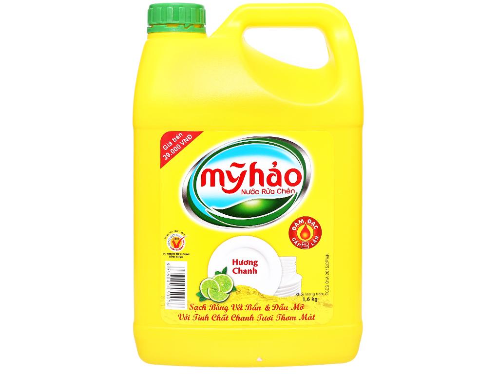 Nước Rửa Chén Mỹ Hảo Hương Chanh Can 1.6 Lít