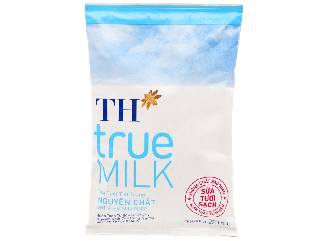 Sữa Tươi Tiệt Trùng TH TRue Milk Nguyên Chất Gói 220ml