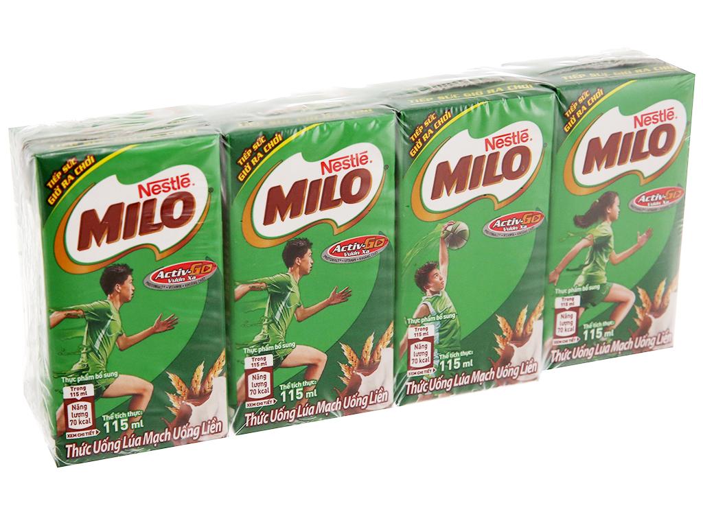 Lốc 4 Hộp x 115ml Sữa Lúa Mạch Milo