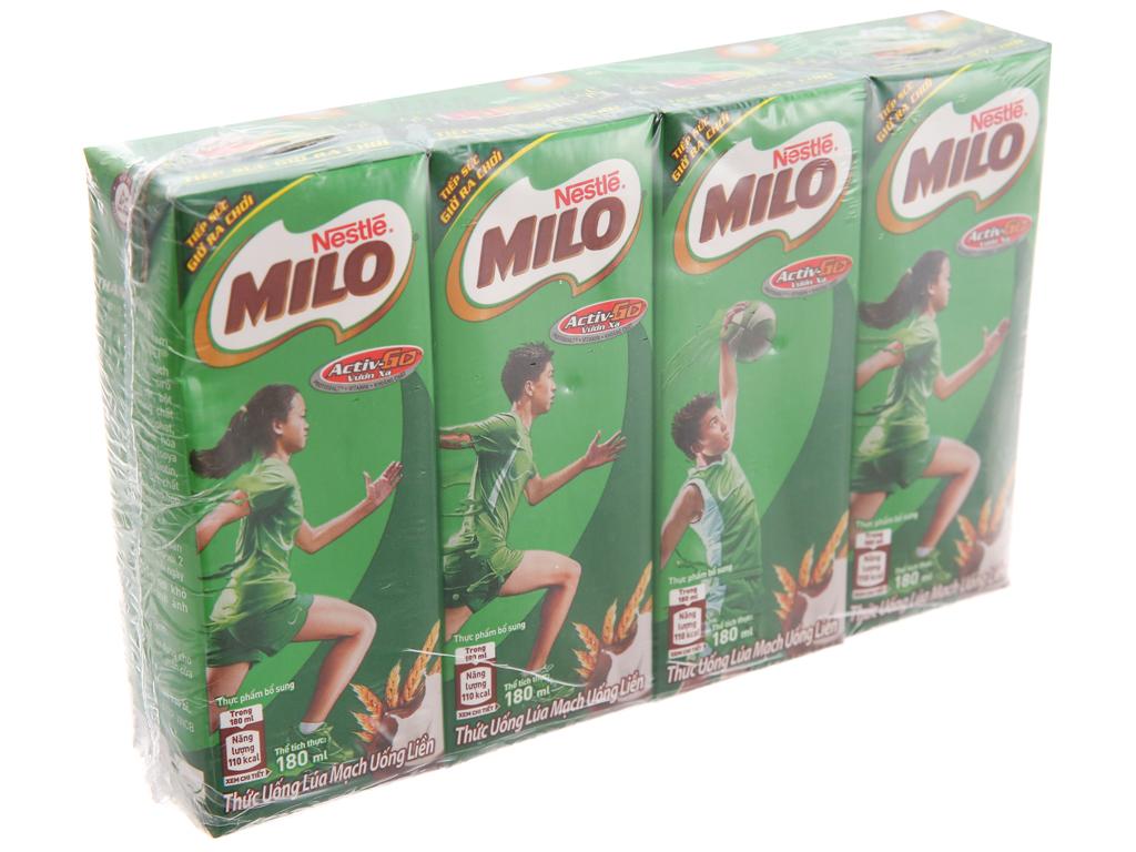 Lốc 4 Hộp x 180ml Sữa Lúa Mạch Milo