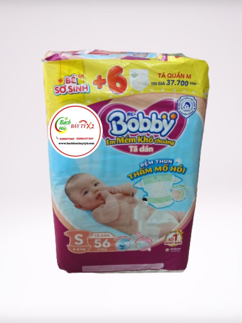 Tả Bobby Dán Size S (4-8kg) - 56 Miếng KM +6 Tã Quần M