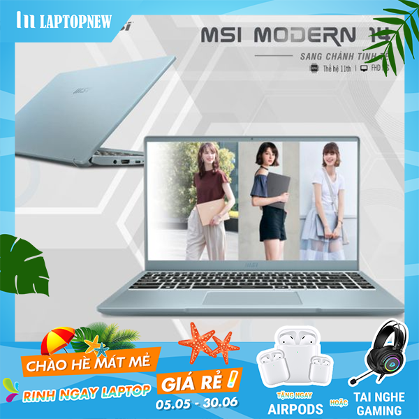 Laptop MSI Modern 14 B11MO 004VN (Blue Stone) | i5-1135G7 Gen 11th | 8GB DDR4 | SSD 512GB PCIe | VGA Onboard | 14.1 FHD IPS | Win10.