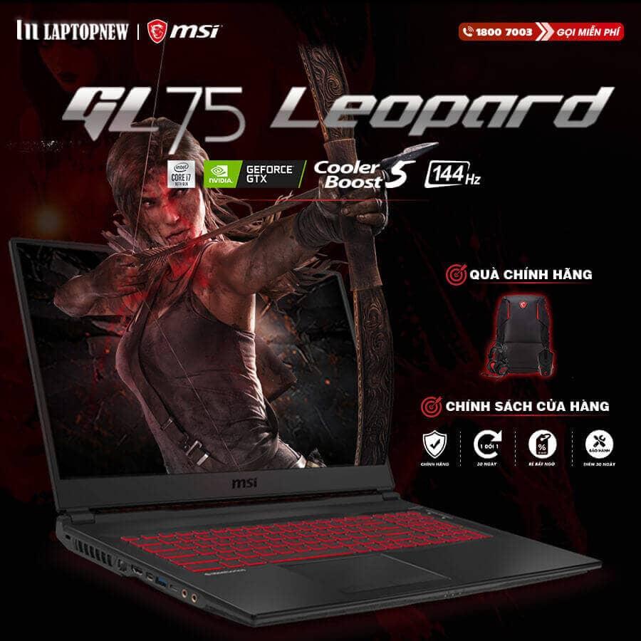 LAPTOP MSI LEOPARD GL75 10SDR - 495VN | i7-10750H | 16GB DDR4 | SSD 512GB PCIe | VGA GTX 1660Ti 6GB | 17.3 FHD IPS 144Hz | Win10.