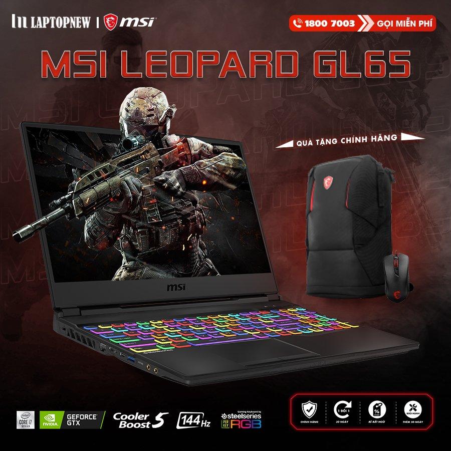 LAPTOP MSI LEOPARD GL65 10SCXK - 093VN | i7 10750H | 8GB DDR4 | SSD 512GB PCIe | VGA GTX 1650 4GB | 15.6 FHD IPS 144Hz | Win10.