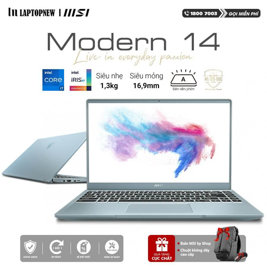 Laptop MSI Modern 14 B11SB 074VN (Blue Stone)