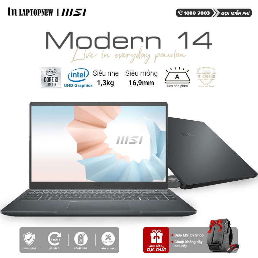 Laptop MSI Modern 14 B10MW 635VN (Gray) | i3-10110U | 8GB DDR4 | SSD 256GB PCIe | VGA Onboard | 14.1 FHD IPS | Win10.