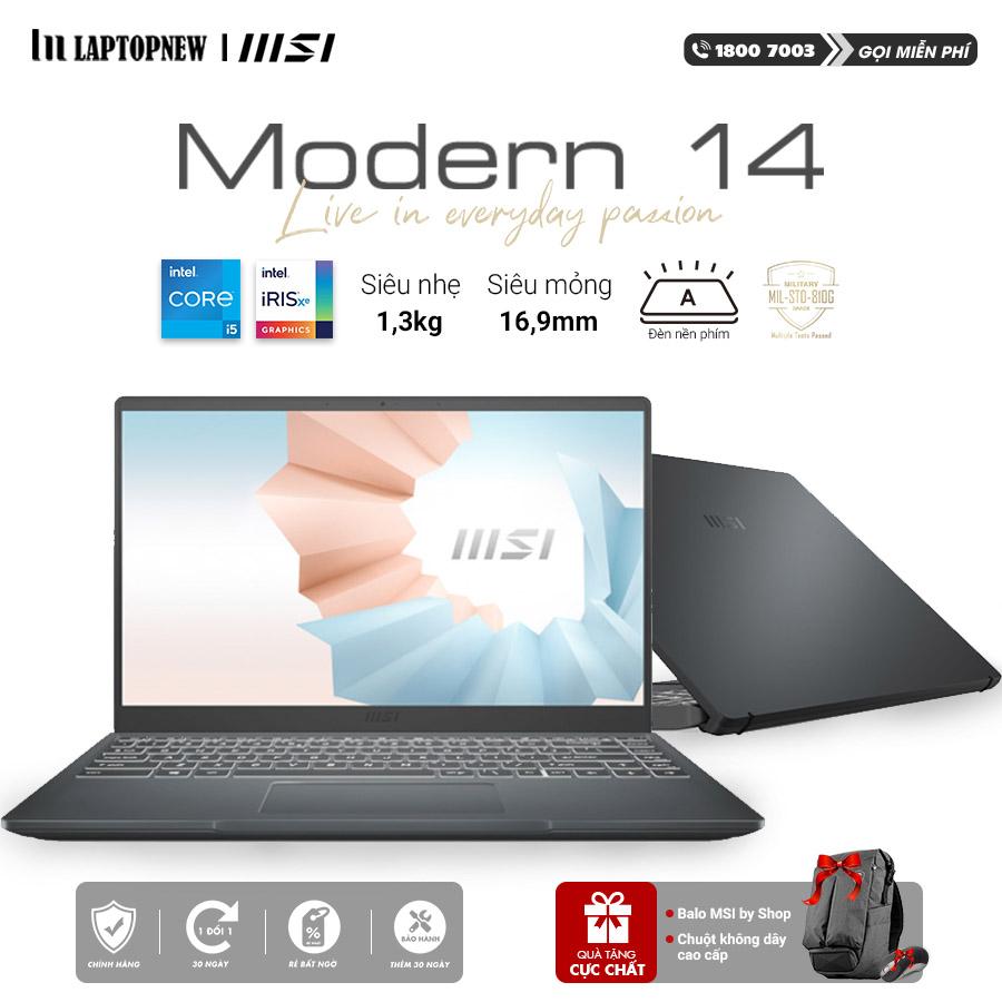 Laptop MSI Modern 14 B11SB 244VN (Gray)   i5-1135G7 Gen 11th   8GB DDR4   SSD 512GB PCIe   VGA MX450 2GB   14.1 FHD IPS   Win10.